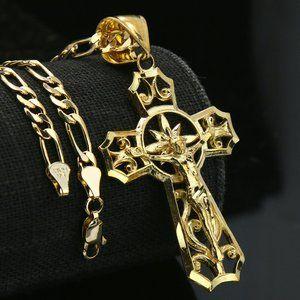 "Jesus Cross 14k Gold Pendant 18"" Figaro Necklace"